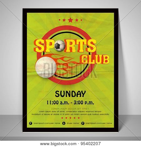 Retro green banner for sports club with soccer, address bar, place holder and mailer.
