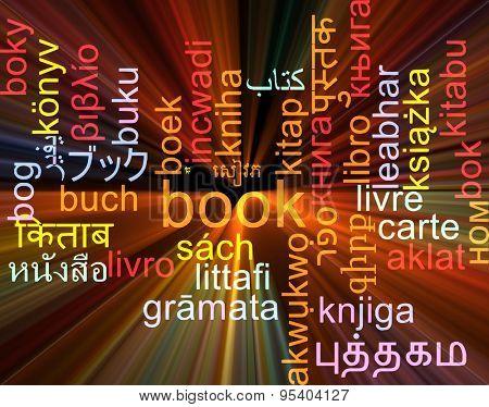 Background concept wordcloud multilanguage international many language illustration of book glowing light