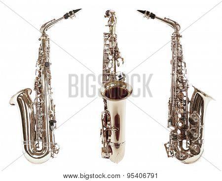 Saxophones isolated on white
