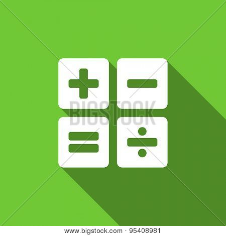 calculator flat icon calc sign original modern design green flat icon for web and mobile app with long shadow