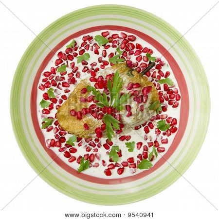 Chile Nogada Mexican Dish Top View