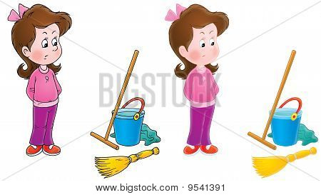 Capricious girl and housework