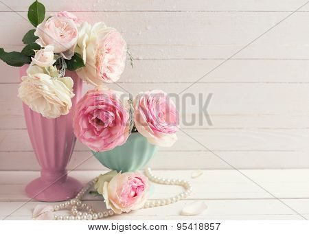 Sweet Pink Roses Flowers In Vases