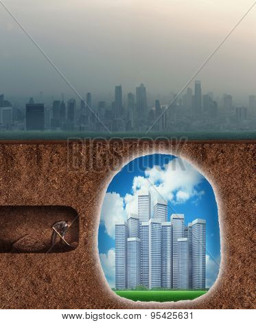 Businessman digs a tunnel to the better future poster