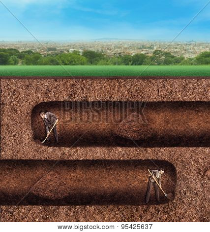 Business people dig tunnels underground