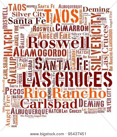 Word Cloud in the shape of New Mexico showing some of the cities in the state