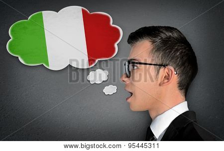 Man learn speaking italian in bubble