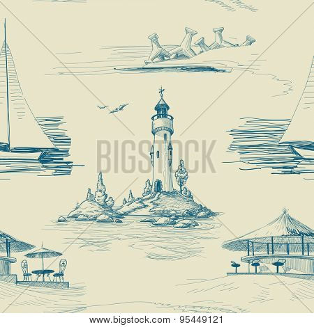 Summer sea and beach seamless pattern