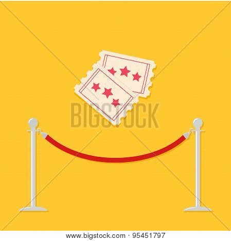 Red Rope Barrier Stanchions Turnstile Two Tickets. Cinema Icon In Flat Design Style.