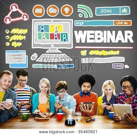 Webinar Online Seminar Global Conmmunications Concept poster