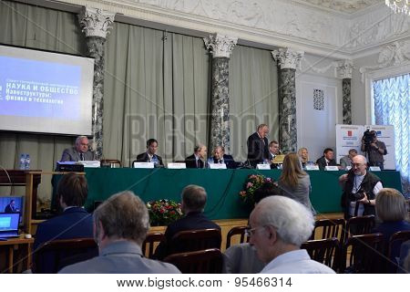 ST. PETERSBURG, RUSSIA - JUNE 22, 2015: Plenary thesis during the Saint Petersburg scientific forum