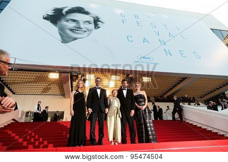 Cannes, France - May 16, 2015: Thierry Fremaux, Beatrice Mancini, John Turturro, Guilia Lazzarini, Nanni Moretti, Margherita Buy. 'My Mother' Premiere during the 68th annual Cannes Film Festival on May 16, 2015 in Cannes, France.