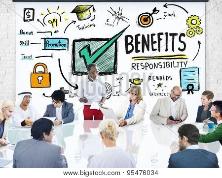 Benefits Gain Profit Earning Income Business Meeting Concept poster