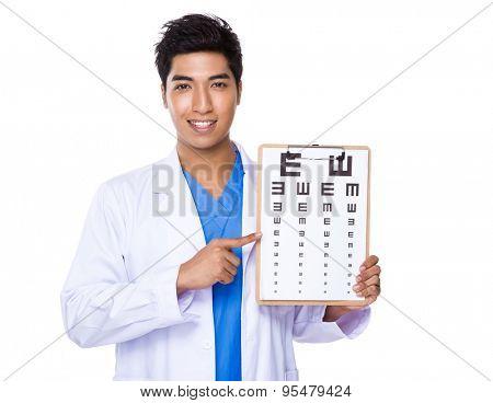 Optician doctor holding with eyechart