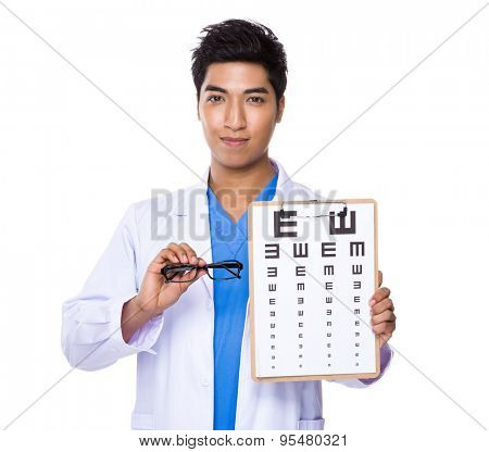 Optician doctor holding with eyechart and glassesa