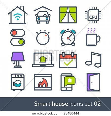 Smart house technology system icons with control of lighting, heating, ventilation and air conditioning, security and video surveillance // 02