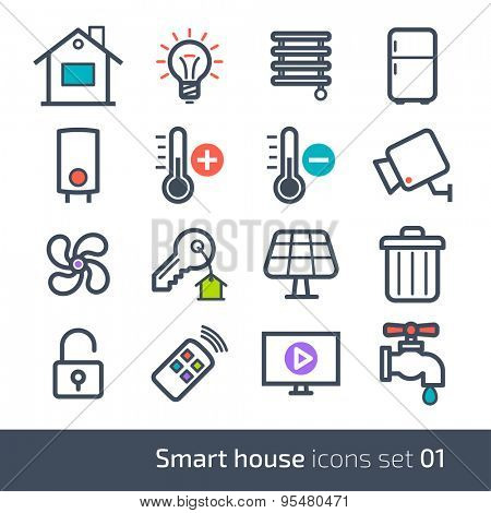 Smart house technology system icons with control of lighting, heating, ventilation and air conditioning, security and video surveillance // 01