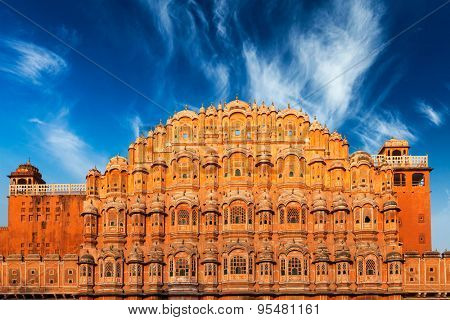 Famous Rajasthan Indian landmark - Hawa Mahal palace (Palace of the Winds), Jaipur, Rajasthan, India
