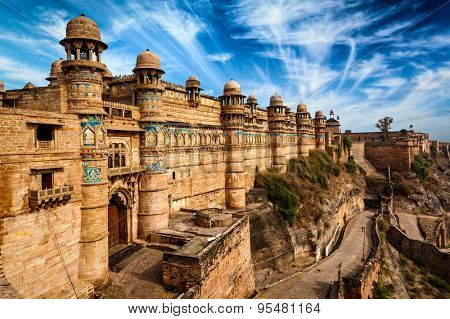 Indian famous landmark example of Mughal architecture - Gwalior fort. Gwalior, Madhya Pradesh, India