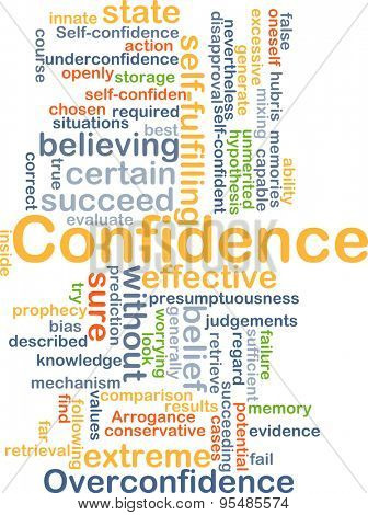 Background concept wordcloud illustration of confidence poster