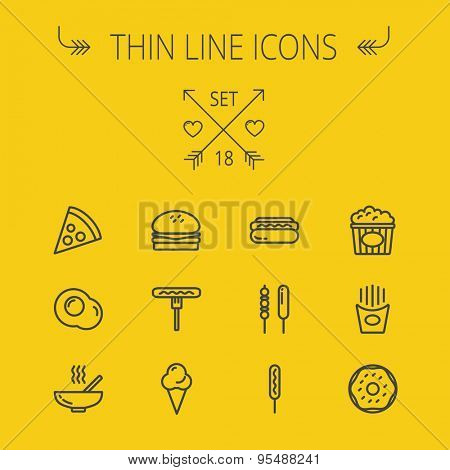 Food and drink thin line icon set for web and mobile. Set includes- pie, hotdog, egg, popcorn, ice cream, french fries cookies icons. Modern minimalistic flat design. Vector dark grey icon on yellow
