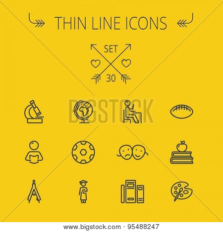 Education thin line icon set for web and mobile. Set includes- global, books, compass, pallette, balls, two heads, reading icons. Modern minimalistic flat design. Vector dark grey icon on yellow