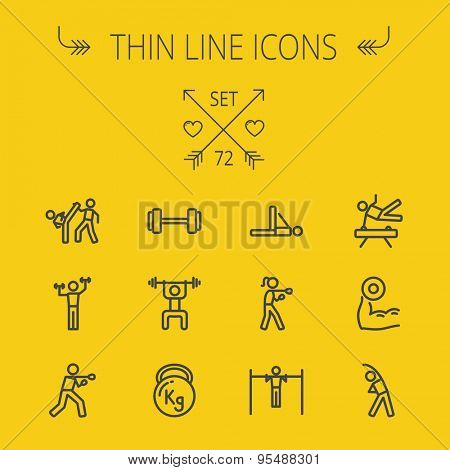 Sports thin line icon set for web and mobile. Set includes-boxing, barbel, exercise, gymnast, karate, boxing icons. Modern minimalistic flat design. Vector dark grey icon on light grey background. poster