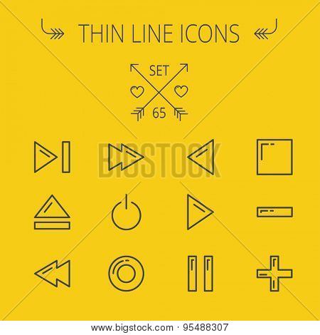 Music and entertainment thin line icon set for web and mobile. Set includes- function keys for music icons. Modern minimalistic flat design. Vector dark grey icon on yellow background.