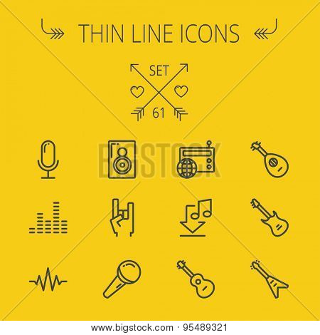 Music and entertainment thin line icon set for web and mobile. Set includes- speaker rock hand, wireless mic, sound wave beat, equalizer, radio, download music, guitars icons. Modern minimalistic flat