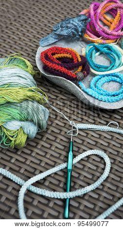 Crochet, Wrap Braided Cord Bracelet