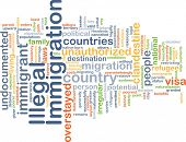 Background concept wordcloud illustration of illegal immigration poster
