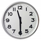 Clock showing half past eleven on white background poster