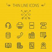 Technology thin line icon set for web and mobile. Set includes - headphones, server, printer, fax machine, telephone receiver, SSD, web cam. Modern minimalistic flat design. Vector dark grey icon on poster