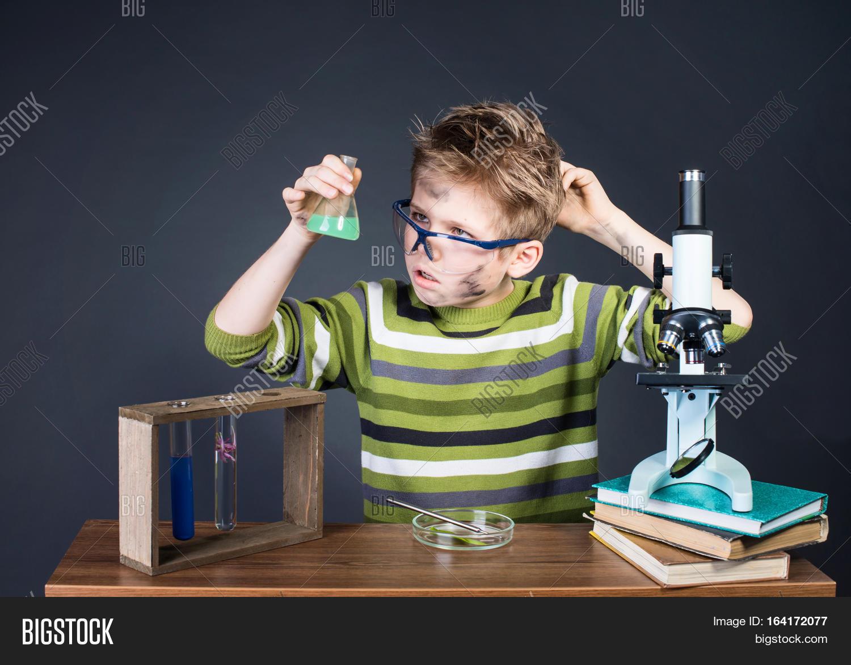 Kid Making Science Image Photo Free Trial Bigstock