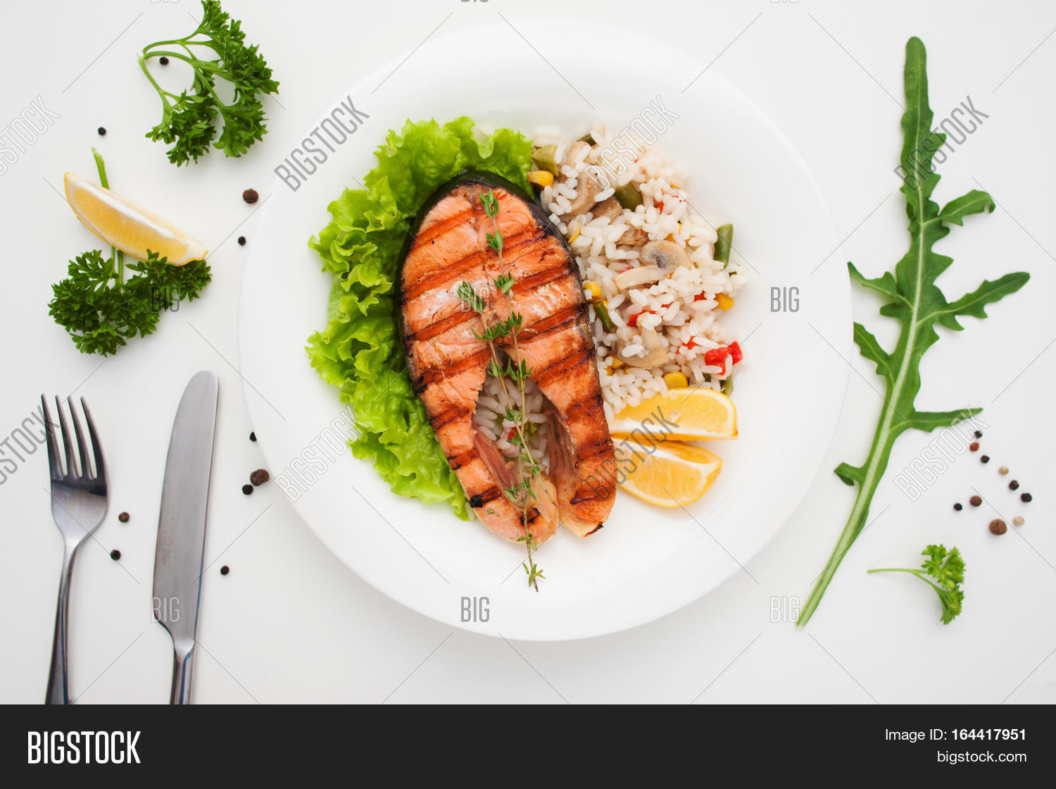 Grilled salmon rice cutlery flat image photo bigstock for One fish two fish restaurant