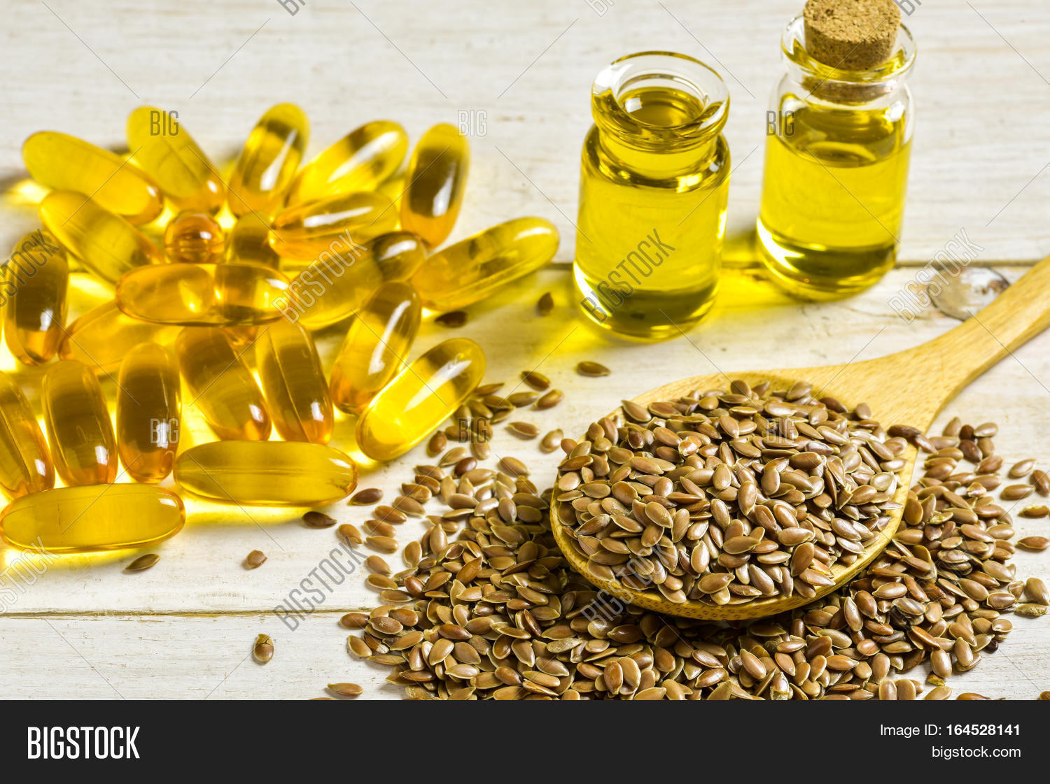 Brown Flax Seeds On Image Photo Free Trial Bigstock