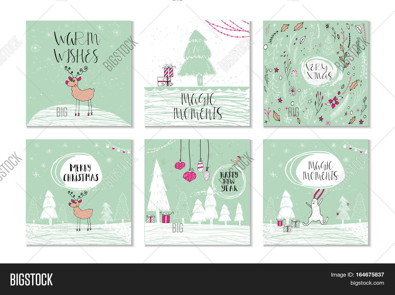 Christmas Gift Card Poster.Card Set Image Photo Free Trial Bigstock