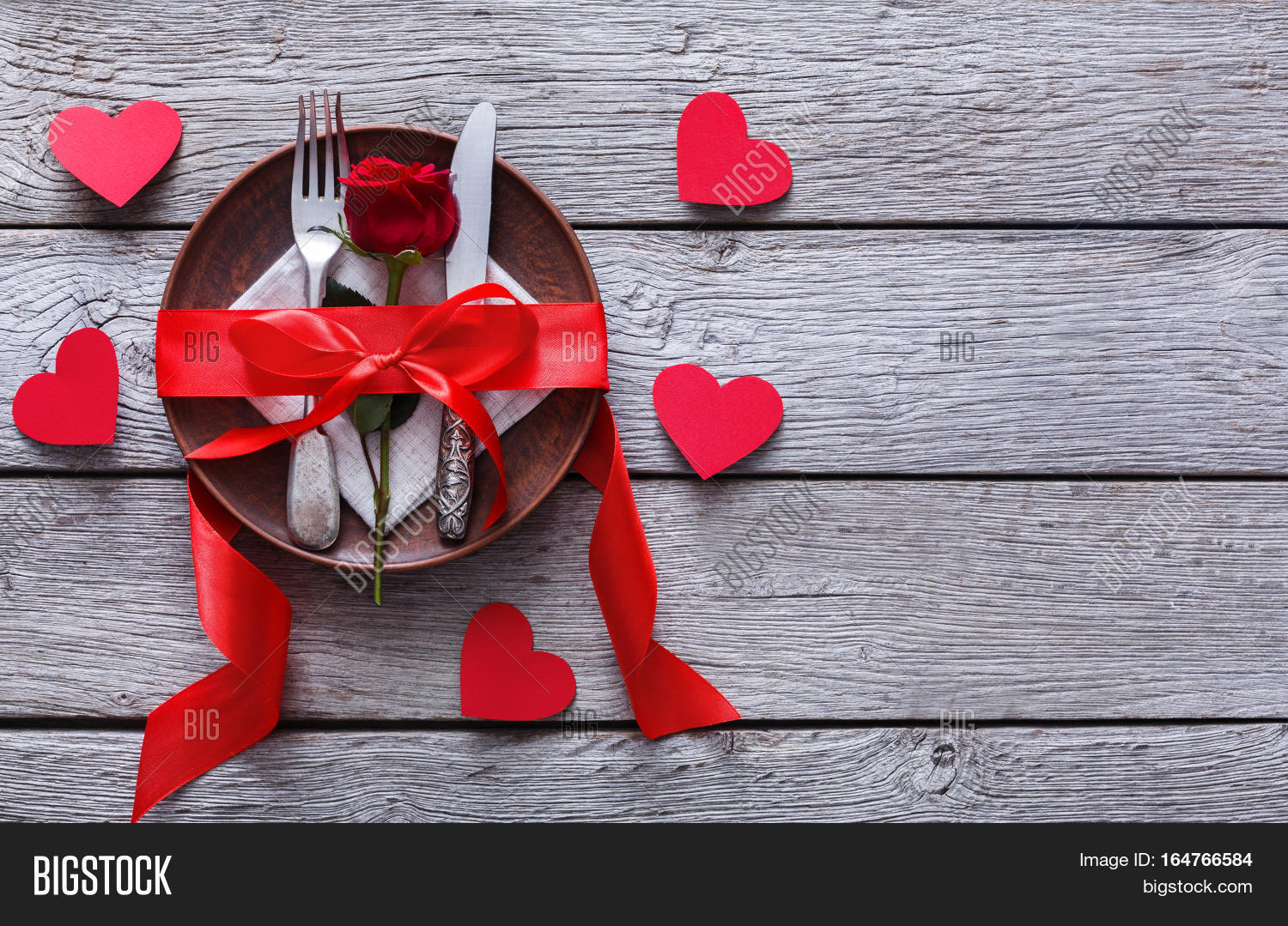 Valentine Day Or Proposal Background Top View Of Restaurant Wooden Table