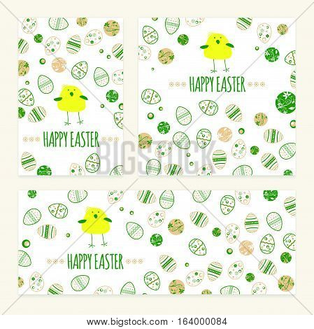Set Of Happy Easters Wishes With Abstract Eggs