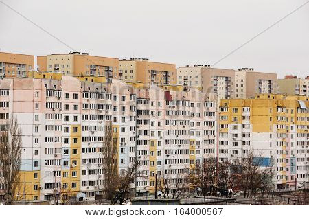 The residential area consists of multi-storey new houses.