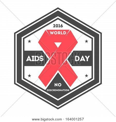 World aids day label isolated vector illustration. Stop aids hiv symbol. Red ribbon logo on white background. 1 december world aids day