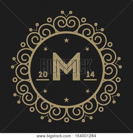 Geometric monogram vintage abstract logo isolated vector illustration. Talisman, mirror, harmony, waves brand. Luxury insignia logo vector. Monogram emblem insignia template