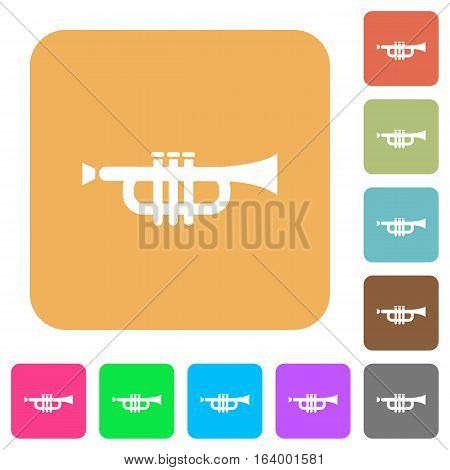 Trumpet icons on rounded square vivid color backgrounds.