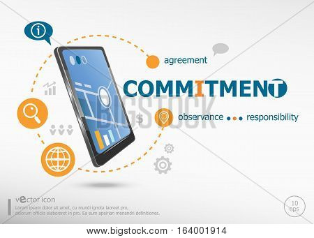 Commitment Concept And Realistic Smartphone Black Color.