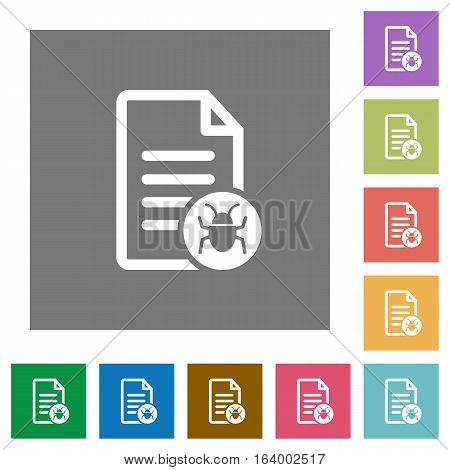Malicious document flat icons on simple color square backgrounds