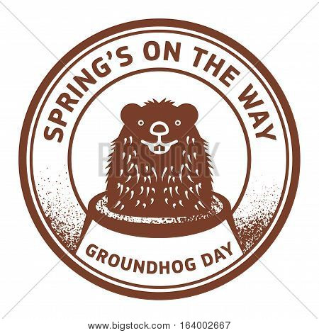 Grunge rubber stamp or sign with cute groundhog and text Springs on the way Groundhog Day vector illustration