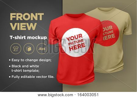 Men's white and black t-shirt with short sleeve mockup. Front view. Vector template.