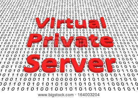 virtual private server as binary code 3D illustration