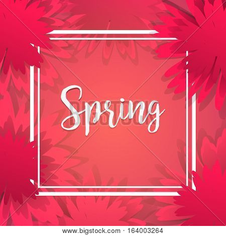 Spring poster with white frame and red flowers