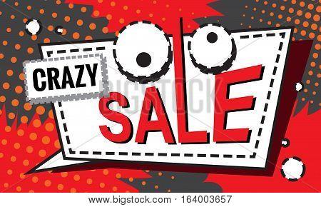 Crazy Sale Design Cartoon Banner Template